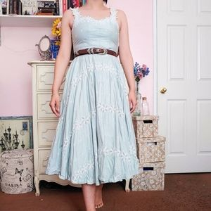 Vintage 50s Seafoam Floral Midi Tea Dress